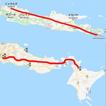 ジャカルタ~バリ島までの地図
