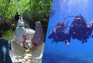 マングローブ林とサンゴ礁やキレイなお魚さんがお友達「体験ダイブ(ボートエントリー)」ツアー